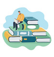 man sitting and reading on a huge pile books vector image vector image