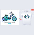 moto bike scooter t-shirt motorcycle print vector image