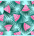 pieces of watermelon and palm leaves seamless vector image