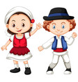 romania girl and boy in traditional clothes vector image vector image