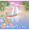 Sailboat floats on the sea vector image vector image