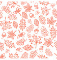 seamless doodle leaves background orange vector image