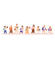 set boys and girls going to elementary vector image vector image