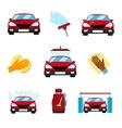 set car washing flat icons vector image