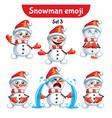 set of cute snowman characters set 3 vector image vector image