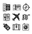 set of monochrome travel icons in flat style vector image vector image
