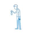sick man character handkerchief in hand vector image vector image