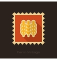 Spikelets wheat retro flat stamp with long shadow vector image vector image