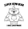 superhero white bear fashion print design vector image vector image