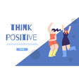 think positive landing page in geometric design vector image vector image
