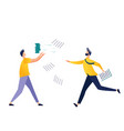 two male characters try to catch falling papers vector image