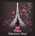 valentines day card with eiffel tower and hearts vector image