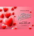 valentines day sale poster with red hearts vector image vector image