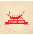 Viking boat The symbol of Reykjavik Iceland vector image vector image