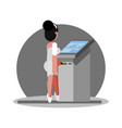 woman using atm vector image vector image