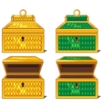 Yellow and green magic chests open and close vector image vector image