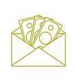 yellow line bill cash money inside card design vector image vector image