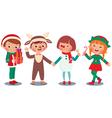 Children celebrating Christmas in Christmas Costum vector image