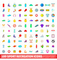 100 sport recreation icons set cartoon style vector image vector image