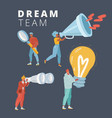 a deam team concept on dark background vector image vector image