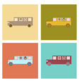 Assembly flat icons school bus