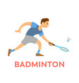 badminton game male holding racket in hands vector image vector image