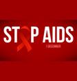 banner with realistic red ribbon poster stop vector image vector image