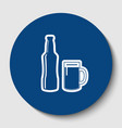 beer bottle sign white contour icon in vector image