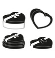 black and white heart box silhouette set vector image vector image