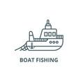 boat fishing line icon boat fishing vector image vector image