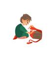 boy opening christmas new year birthday present vector image vector image