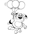 cartoon dog holding balloons vector image vector image
