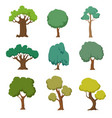 cartoon green trees cute nature forest plant and vector image