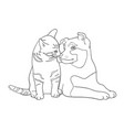 cat and dog line art 13 vector image vector image