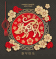 chinese new year 2020 year rat red grey vector image vector image
