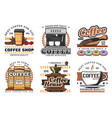 coffee shop desserts and and drinks icons vector image
