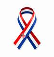 croatian flag stripe ribbon on white background vector image vector image