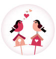 Cute Birds in love sitting on Birdhouses - retro vector image