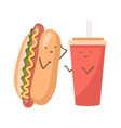 cute funny smiling happy hot dog and soda water vector image vector image