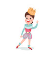 cute happy cartoon boy character in prince costume vector image vector image