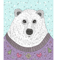 Cute hipster polar bear with christmas sweater vector image vector image