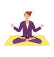 cute woman doing yoga in lotus posture vector image vector image