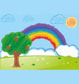 doodle arts for rainbow over the garden vector image vector image