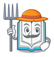 farmer opened book on the cartoon table vector image vector image
