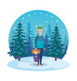 father and daughter with christmas clothes in vector image vector image