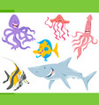 fish and sea life animals characters set vector image vector image