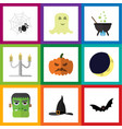 flat icon halloween set of spirit spinner vector image vector image