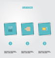 flat icons silverware electric stove breadboard vector image
