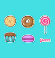 funny stickers with sweets vector image vector image