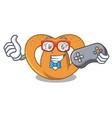 gamer pretzel mascot cartoon style vector image
